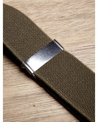 Nigel Cabourn Green Nigel Cabourn Mens Elastic X Leather Solid Braces for men