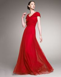 Tadashi Shoji | Red Cap-sleeve Tulle Gown | Lyst