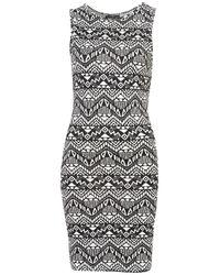 TOPSHOP Black Sleeveless Aztec Bodycon Dress