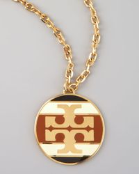 Tory Burch - Brown Striped Logo Pendant Necklace  - Lyst