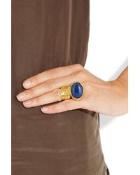 Saint Laurent Blue Arty Goldplated Glass Ring