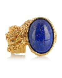 Saint Laurent - Blue Arty Goldplated Glass Ring - Lyst