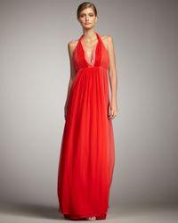 Halston | Pink Chiffon Halter Gown | Lyst