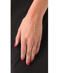 Jacquie Aiche   Metallic Ja Mini Cross Chain Finger Bracelet - Yellow Gold   Lyst
