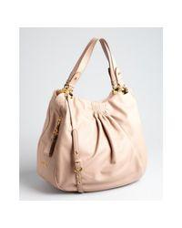 Miu Miu | Cameo Brown Tucked Lambskin Convertible Bag | Lyst