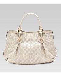 70e05136f093 Gucci Scarlett Guccissima Leather Tote in White - Lyst