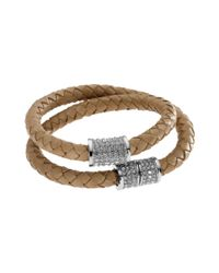 Michael Kors - Silver Tone Natural Braided Leather Double Wrap Bracelet - Lyst