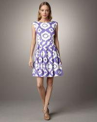 Shoshanna | Purple Alyce Cap-sleeve Ikat Dress | Lyst