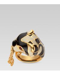 Gucci Metallic Ring with Tiger Head