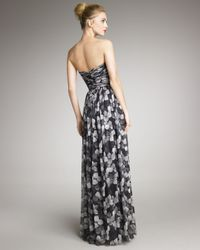 Jason Wu Gray Floral-print Strapless Gown