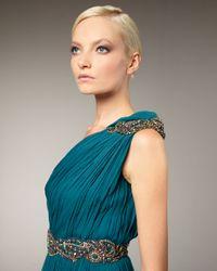 Marchesa | Blue Grecian One-shoulder Gown | Lyst