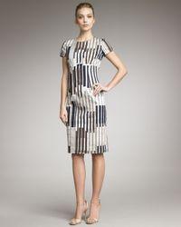 Carolina Herrera Multicolor Striped Short-sleeve Dress