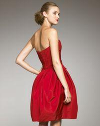 Carolina Herrera Red Strapless Silk Faille Dress