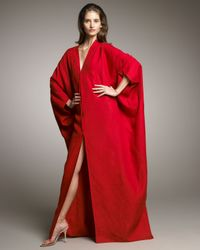 Chado Ralph Rucci | Red Linen Long Envelope Caftan | Lyst