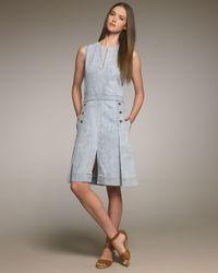 Chloé - Blue Button-waist Denim Dress - Lyst