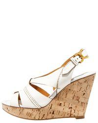 Chloé - Marcie Cork-wedge Slingback Sandal, Tan/white - Lyst
