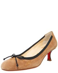 Christian Louboutin | Natural Round-toe Suede Pump | Lyst