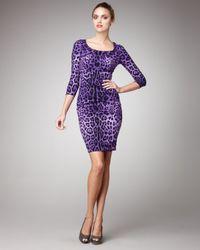 Dolce & Gabbana - Purple Leopard-print Sheath Dress - Lyst