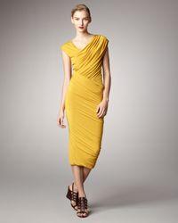 Donna Karan   Yellow Ruched Jersey Capsleeve Dress   Lyst
