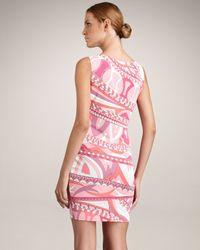 Emilio Pucci - Pink Sleeveless Asymmetric Border Dress - Lyst