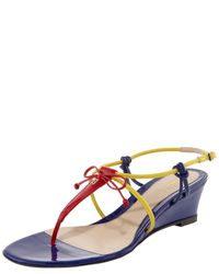 Fendi | Multicolor Bow Wedge Thong Sandal | Lyst