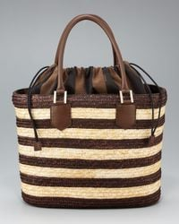 Fendi | Brown Striped Straw Tote | Lyst