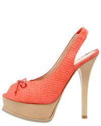 Fendi - Orange Snake-Print Slingback Platform Sandal - Lyst