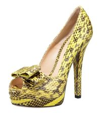 Fendi | Yellow Deco Watersnake Platform Pump | Lyst