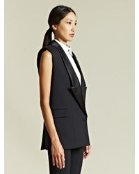 Givenchy Black Givenchy Womens Sleeveless Tuxedo Jacket