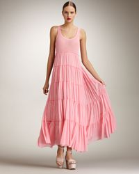 Jean Paul Gaultier - Pink Tiered Maxi Dress - Lyst