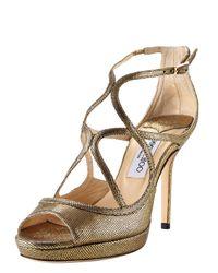 Jimmy Choo | Metallic Crisscross Platform Sandal | Lyst