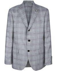 Lardini Gray Checked Blazer for men