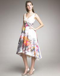 Lela Rose | White Floral-print V-neck Dress | Lyst