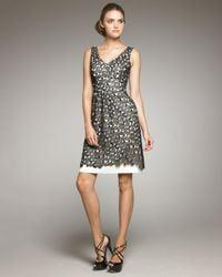 Lela Rose | Black Lace Overlay Linen Dress | Lyst