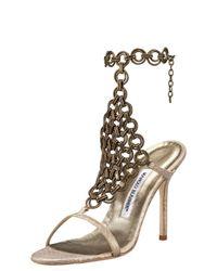 Manolo Blahnik | Metallic Chain-maille Snake Sandal | Lyst