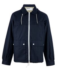 MHL by Margaret Howell Blue Hooded Waxed Jacket for men