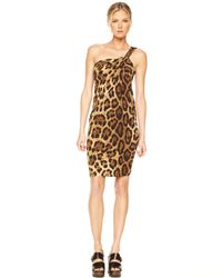 Michael Kors Brown One-shoulder Dress, Leopard Print