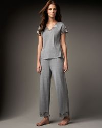 Natori | Gray Zen Floral Trim Pajamas | Lyst