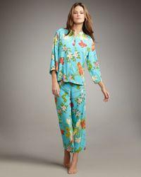 Natori | Blue Peranakan Floral-print Charmeuse Pajamas | Lyst