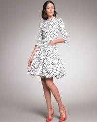 Oscar de la Renta White Polka-dot Coat Dress