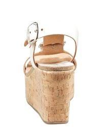 Pedro Garcia - White Leather Buckle Cork Wedge Sandal - Lyst