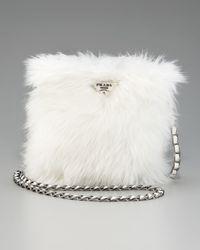 Prada White Eco Pelliccia Faux Fur Satchel