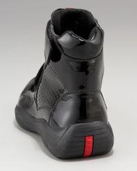 Prada   Black Patent Hi-top Sneaker for Men   Lyst