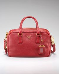 Prada Red Vitello Daino Pebbled Calfskin Bowler