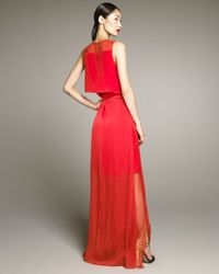 Reed Krakoff - Red Crepe De Chine Wrap Gown - Lyst