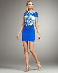 Roberto Cavalli - Blue Asymmetric-neck Ruched Mini Dress - Lyst