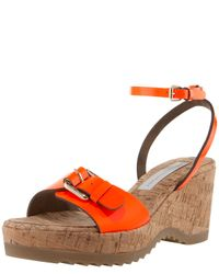 Stella McCartney - Orange Ankle-wrap Cork-wedge Sandal - Lyst