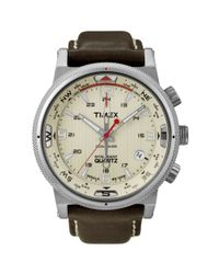 Timex | Mens Intelligent Quartz Compass Brown Leather Strap Watch  for Men | Lyst