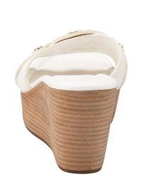 Tory Burch White Patti Logo Wedge Sandal