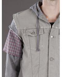 Undercover Blue Layered Denim Jacket for men